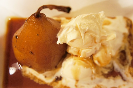 perfect pears dessert with vanilla ice cream
