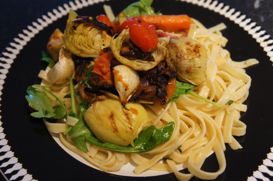 delicious moroccan grilled vegetables on linguine