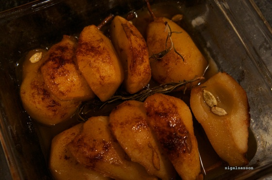 delicious baked pears in white balsamic reduction