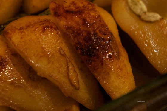 baked pears with rosemary and white balsamic reduction