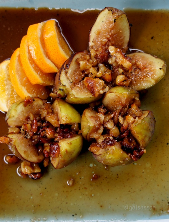 delicious dessert of roasted figs in honey nut sauce