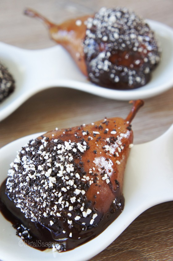 delicious poached pears in chocolate ganache